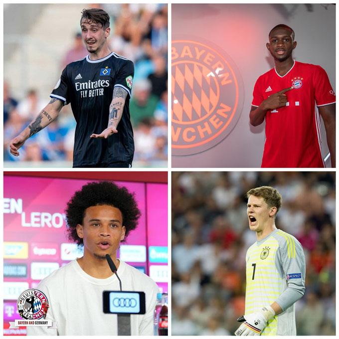 Bayern cũng đã sớm bổ sung lực lượng kế cận với các ngôi sao trẻ như (trái sang, trên xuống) Adrian Fein, Tanguy Kouassi, Leroy Sane và Alexander Nubel