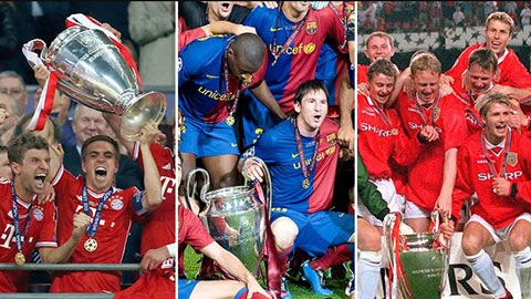 Đội bóng nào giành cú ăn ba ấn tượng nhất trong kỷ nguyên Champions League?