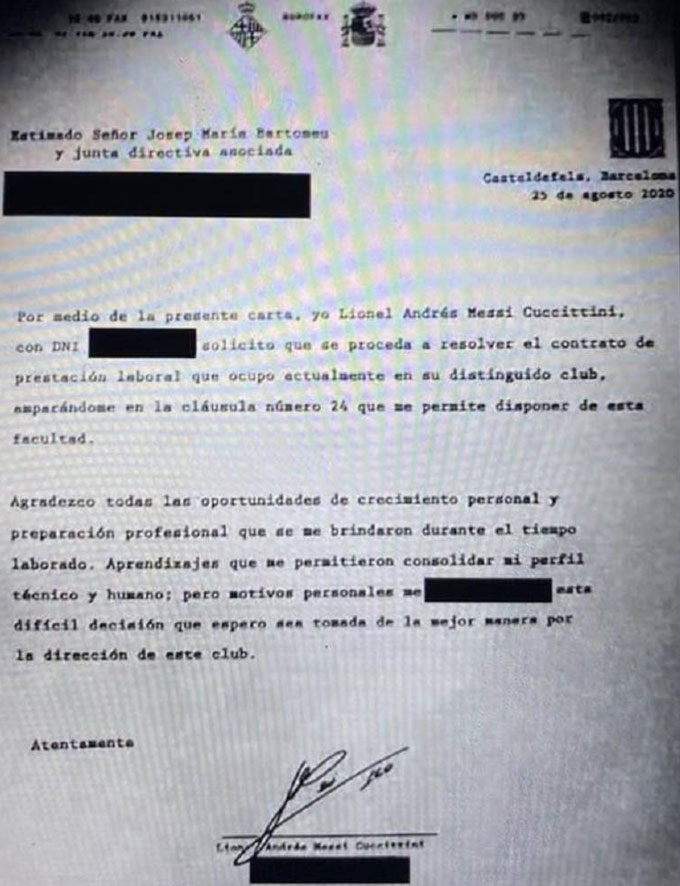 Bản fax của Messi gửi cho Barca