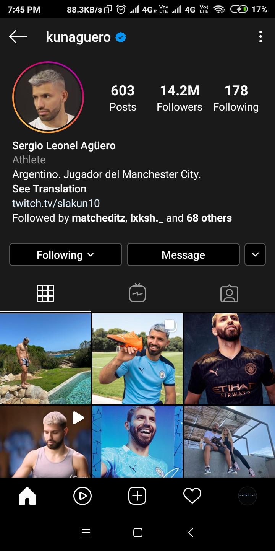 Tên Instagram mới của Aguero đã không còn số 10