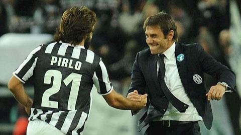 Conte (phải) là người có ảnh hưởng lớn nhất đến sự nghiệp cầm quân của Pirlo