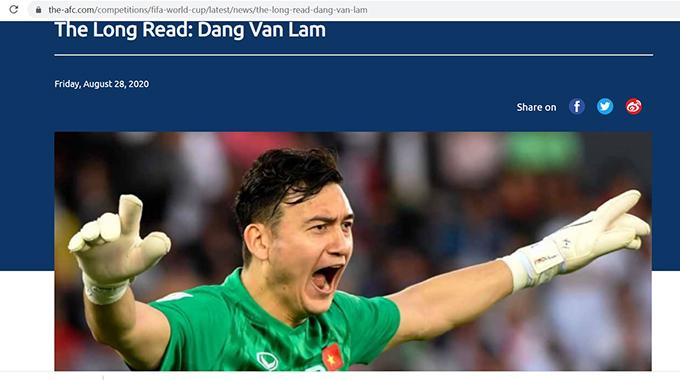 Bài viết về Văn Lâm trên trang chủ của AFC