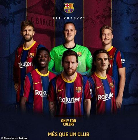 Messi đứng giữa trong quảng cáo áo đấu mùa tới của Barca