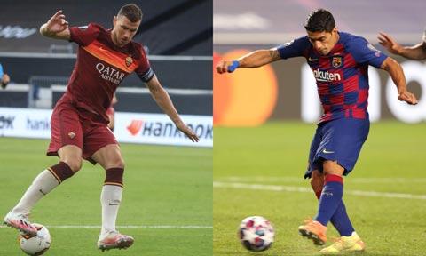 Juve rất khó sở hữu cả Dzeko (trái) lẫn Suarez
