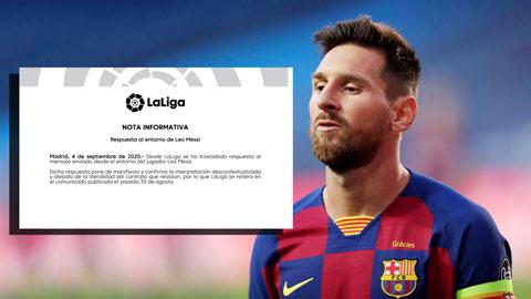 La Liga đáp trả ngay lập tức tuyên bố của bố Messi