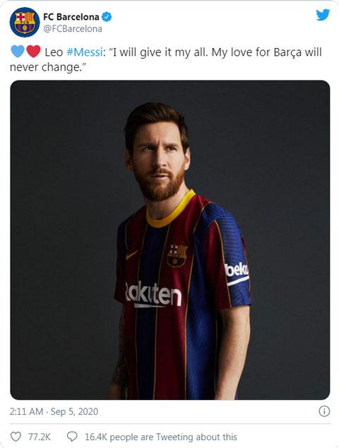 Barca đưa thông điệp ẩn ý sau khi Messi thông báo ở lại