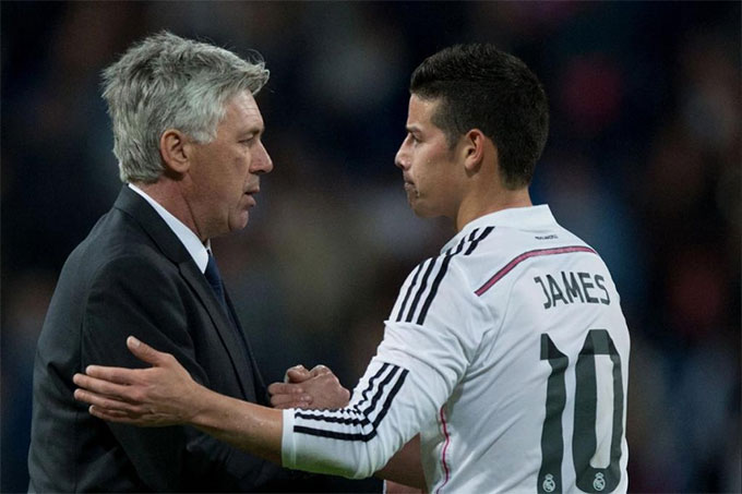 James từng là trò cưng của HLV Ancelotti ở Real và Bayern