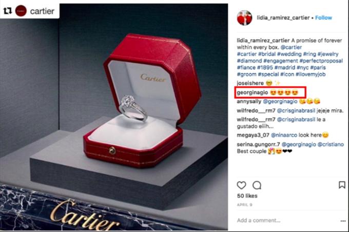 Cận cảnh chiếc nhẫn đính hôn của Ronaldo với Georgina