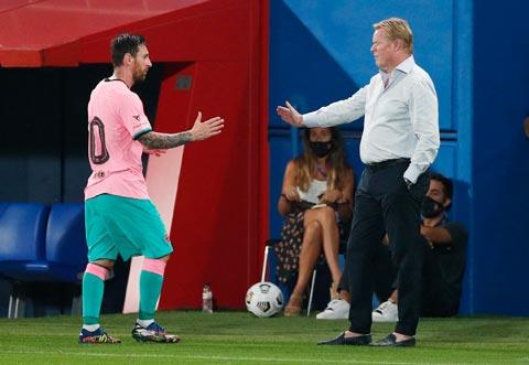 Messi bắt tay HLV Koeman sau khi tỏa sáng ở trận thắng Girona