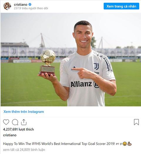 Ronaldo được vinh danh bởi IFFHS