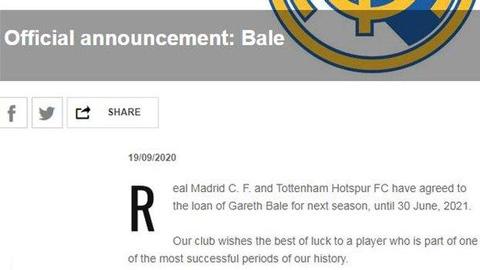 Dòng tuyên bố ngắn gọn trên trang chủ của Real về thương vụ Bale