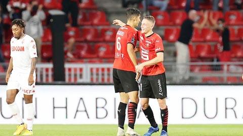 Niềm vui của các cầu thủ Rennes sau cú lội dòng ngoạn mục để thắng 2-1 trước Monaco
