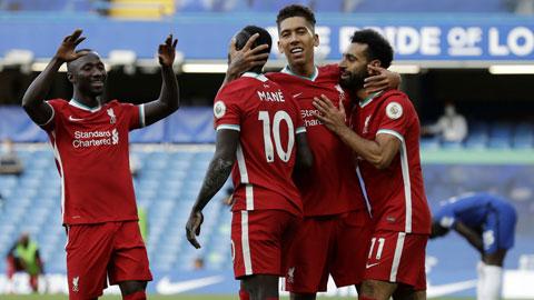 Tam tấu Salah, Firmino, Mane (từ phải qua) in dấu giày vào 5/6 bàn thắng của Liverpool sau 2 vòng đấu đầu mùa