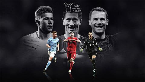 De Bruyne, Lewandowski và Neuer đại chiến cho danh hiệu Cầu thủ xuất sắc nhất năm của UEFA
