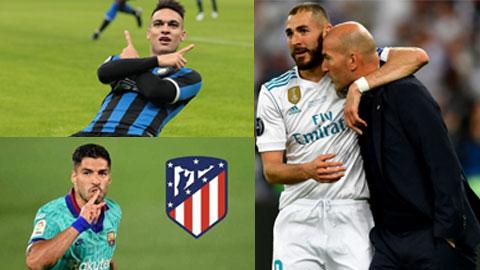 """Trong 3 ông lớn La Liga, chỉ Real (phải) tạm hài lòng với Benzema, còn Barca đang gặp khó vụ Lautaro (trên), Atletico thì phải tính          dùng """"hàng thải"""" Suarez từ Barca"""