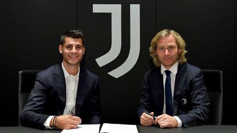Morata (trái) vừa trở lại Juventus theo dạng cho mượn từ Atletico