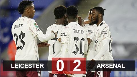 Kết quả Leicester 0-2 Arsenal: Nketiah lại ghi bàn, Arsenal hạ Leicester để vào vòng 4 cúp Liên đoàn