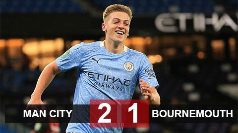 Kết quả Man City 2-1 Bournemouth: Man xanh vào vòng 4 Cúp Liên Đoàn