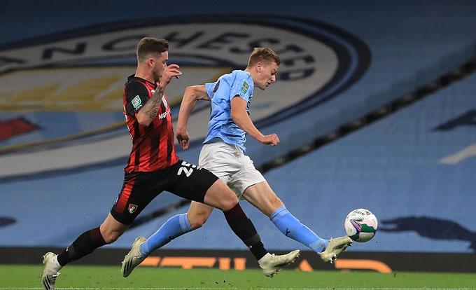 Delap có bàn đầu tiên cho đội một Man City ở ngay trận ra mắt