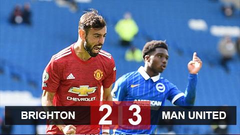 Kết quả Brighton 2-3 M.U: Được thần may mắn 'chống lưng', Quỷ đỏ thắng siêu kịch tính