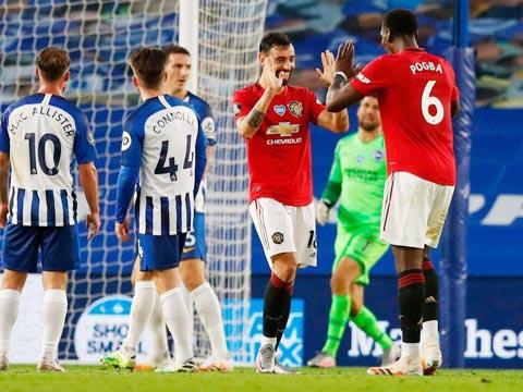 Các cầu thủ M.U (áo sẫm) sẽ lại được ăn mừng chiến thắng trước Brighton