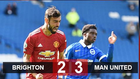Kết quả Brighton 2-3 M.U: Được thần may mắn 'chống lưng', M.U thắng Brighton siêu kịch tính