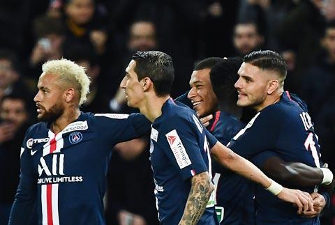 Với bộ tứ siêu đẳng Neymar, Di Maria, Mbappe và Icardi (từ trái qua), PSG sẽ không khó ca khúc khải hoàn đêm nay