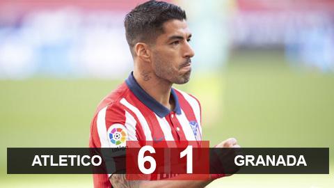 Kết quả Atletico 6-1 Granada: Suarez có 2 bàn và 1 kiến tạo trong 20 phút, Atletico ra quân đại thắng