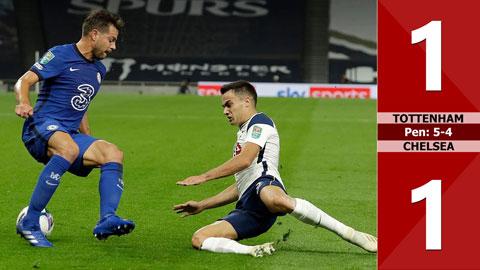 Tottenham 1-1 Chelsea, pen: 5-4 (vòng 4 cúp liên đoàn Anh)
