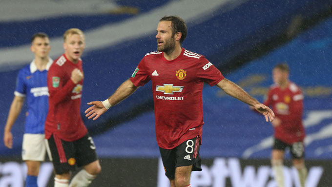 M.U đã giành chiến thắng 3-0 trước Brighton ở vòng 4 League Cup