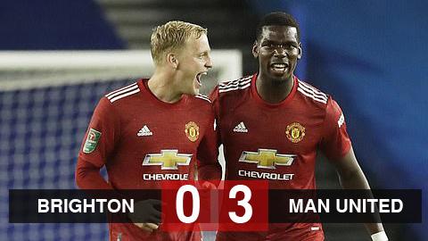 Kết quả Brighton 0-3 Man United: Mata tỏa sáng, Pogba ghi bàn đưa M.U vào tứ kết cúp Liên đoàn
