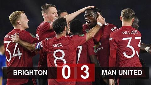 Kết quả Brighton 0-3 Man United: Mata tỏa sáng, Pogba ghi bàn đưa M.U vào tứ kết Carabao Cup