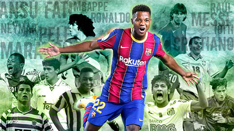 Ansu Fati ở tuổi 17 có bằng Pele, Maradona, Messi, Ronaldo?