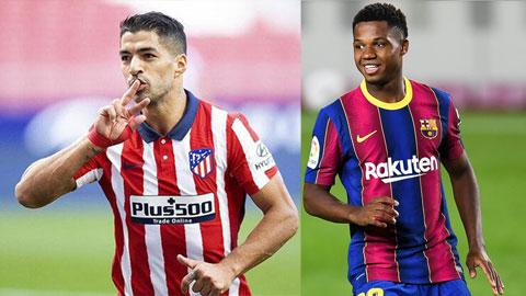 """Các chân sút lão luyện như Suarez (trái) cùng các cầu thủ """"măng non"""" như Fati (Phải), đang thi nhau tỏa sáng từ đầu mùa"""