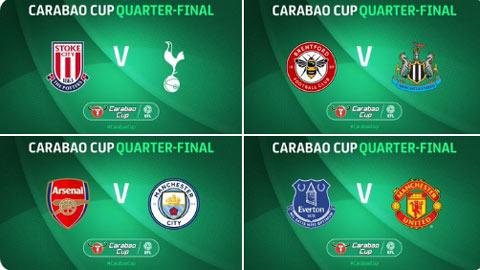 Bốc thăm tứ kết League Cup: M.U đối đầu Everton, Arsenal đụng Man City