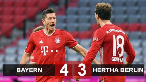 Bayern 4-3 Hertha Berlin: Siêu nhân Lewandowski lập poker, còng lưng gánh