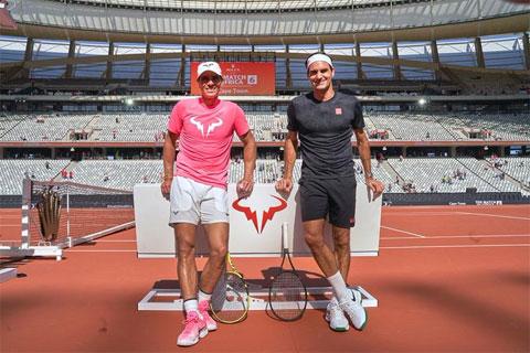Tấm ảnh Federer đăng trên Twitter để chúc mừng Nadal