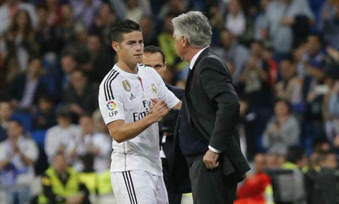 Ancelotti và James từng rất thành công khi cộng tác với nhau tại Real