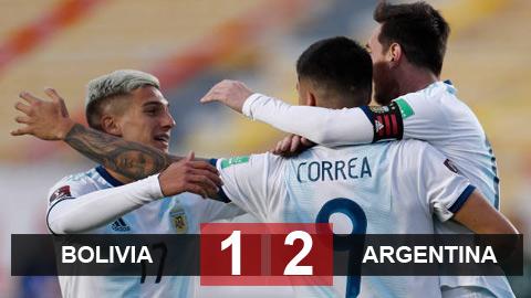 Bolivia 1-2 Argentina: Messi mờ nhạt, Argentina thắng nhọc