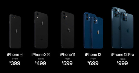 Mức giá của các mẫu iPhone của Apple. Ảnh: Internet