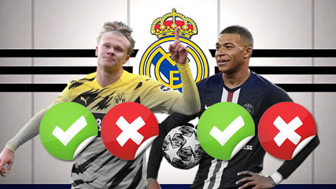 Chọn Mbappe hay Haaland? Real Madrid sẽ quyết định vào năm 2021