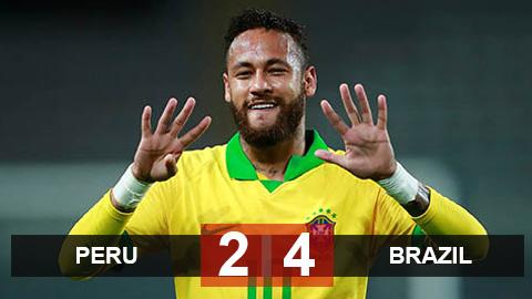 Peru 2-4 Brazil: Neymar lập hat-trick, Brazil quay lại ngôi đầu bảng