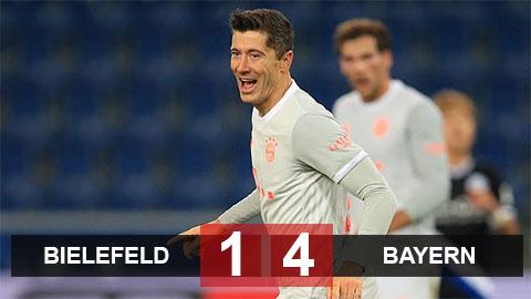 Kết quả Bielefeld 1-4 Bayern: Hùm xám leo lên nhì bảng