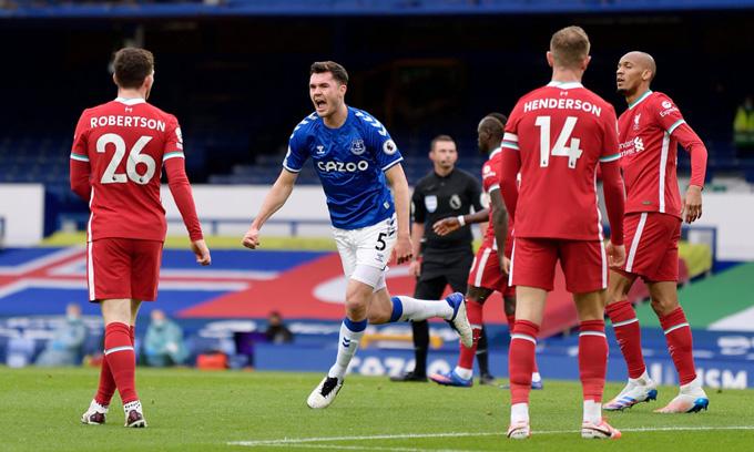 Liverpool bị Everton cầm hòa một cách đáng tiếc