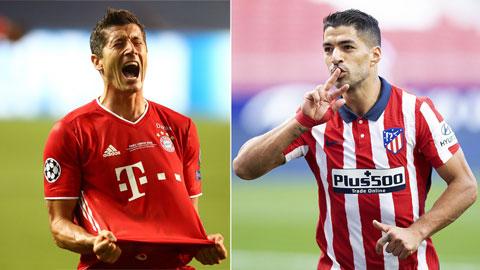 Lewandowski và Suarez (phải) đều là những tiền đạo có thể ghi trên  50 bàn/mùa
