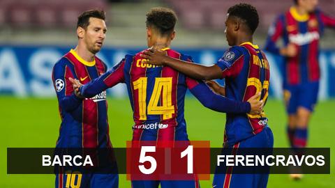Kết quả Barca 5-1 Ferencvaros: Messi và Fati tỏa sáng, Barca nghiền nát nhược tiểu
