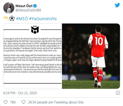 Oezil viết tâm thư trên MXH sau khi bị Arsenal loại khỏi danh sách dự Premier League