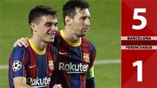 Barcelona 5-1 Ferencvaros: Thẻ đỏ rút ra, Messi thăng hoa