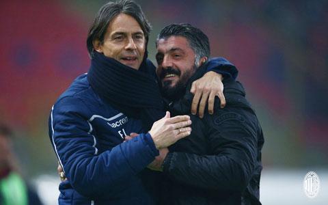 Hai đồng đội cũ Inzaghi (trái, Benevento) và Gattuso (Napoli) sẽ tìm cách vượt qua nhau trong trận derby vùng Campania