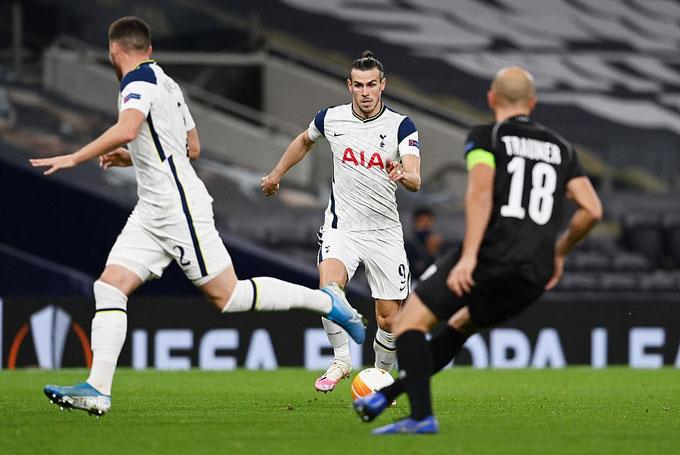 Bale không để lại nhiều ấn tượng trong lần đầu đá chính cho Tottenham